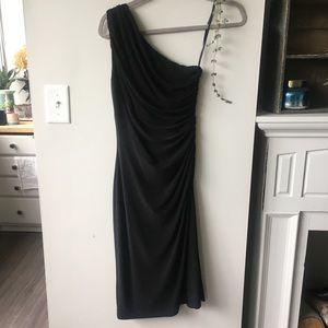 Ralph Lauren Black One Shoulder Midi Dress